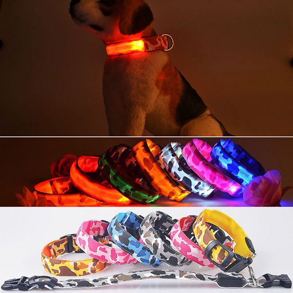 L Pet Dog LED Collar Nylon Safety Light Up Flashing Collar