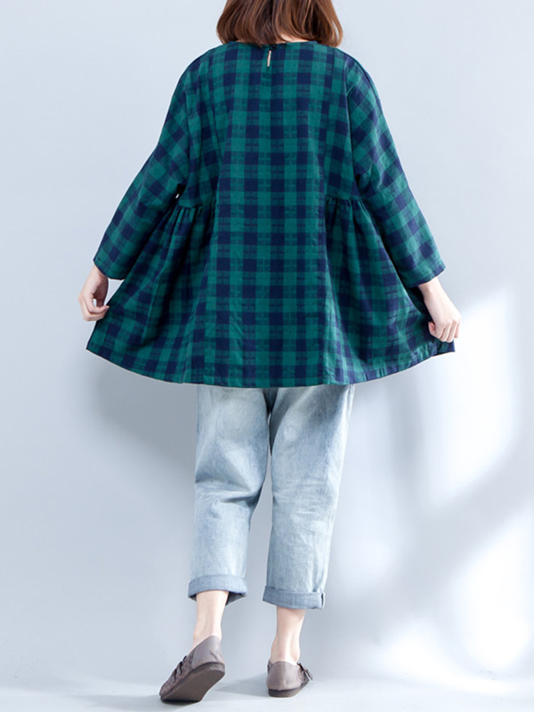 Plus Size Casual Women Plaid Batwing Sleeve Shirts