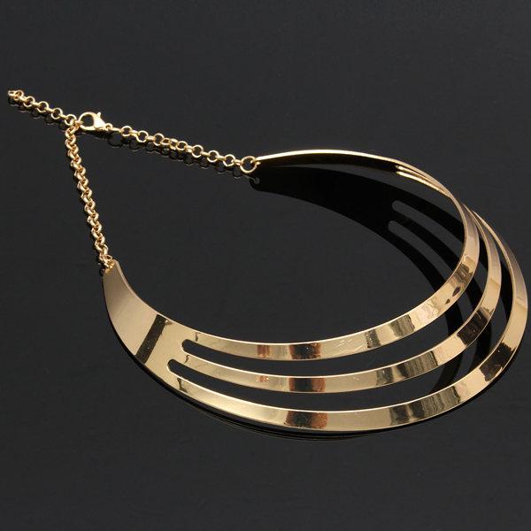 Gorgeous Metal Multi Layer Choker Bib Collar Necklace Jewelry