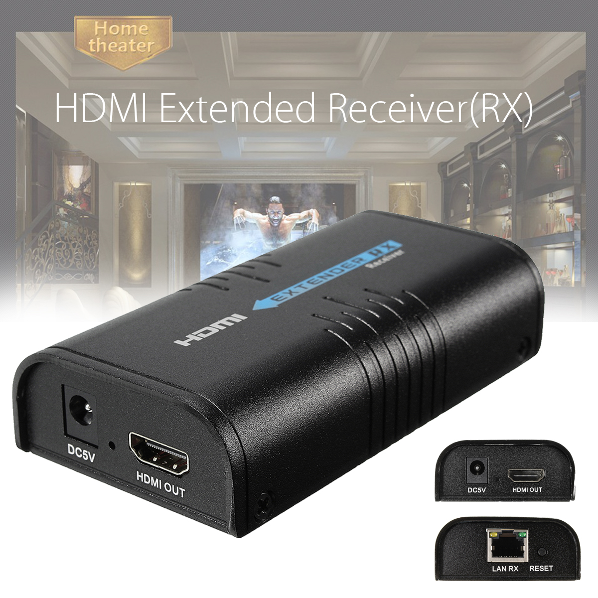 HDMI Extender RX Receiver 100-120m Support 1080P Over Cat5 Cat5e Cat6
