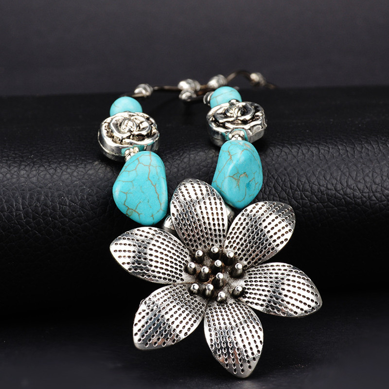 Ethnic Antique Silver Turquoise Flower Pendant Necklace