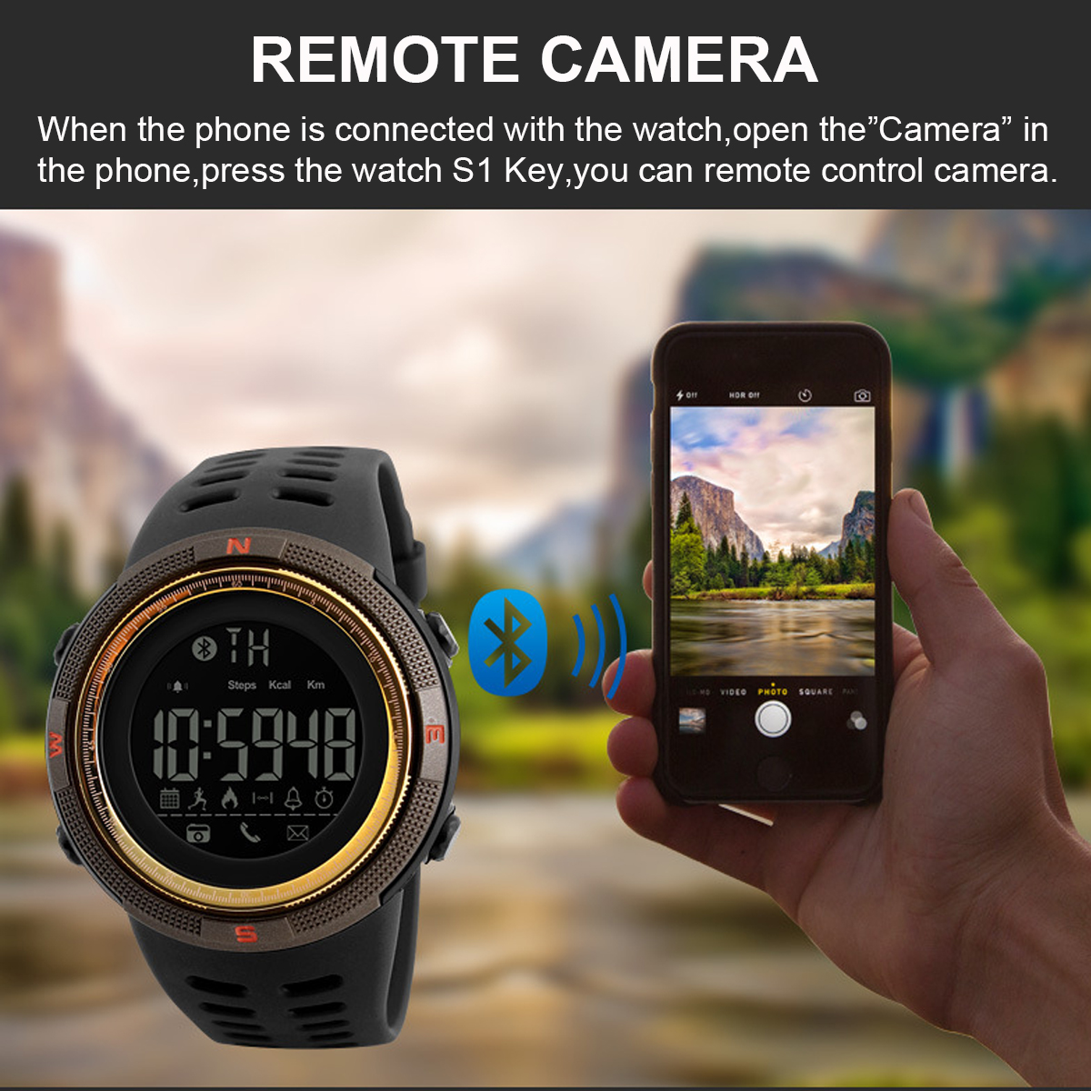 SKMEI 1250 Digital Display 5ATM Waterproof Smart Watch Remote Camera Pedometer Calorie Consumption Sports Fitness Exercise Bracelet