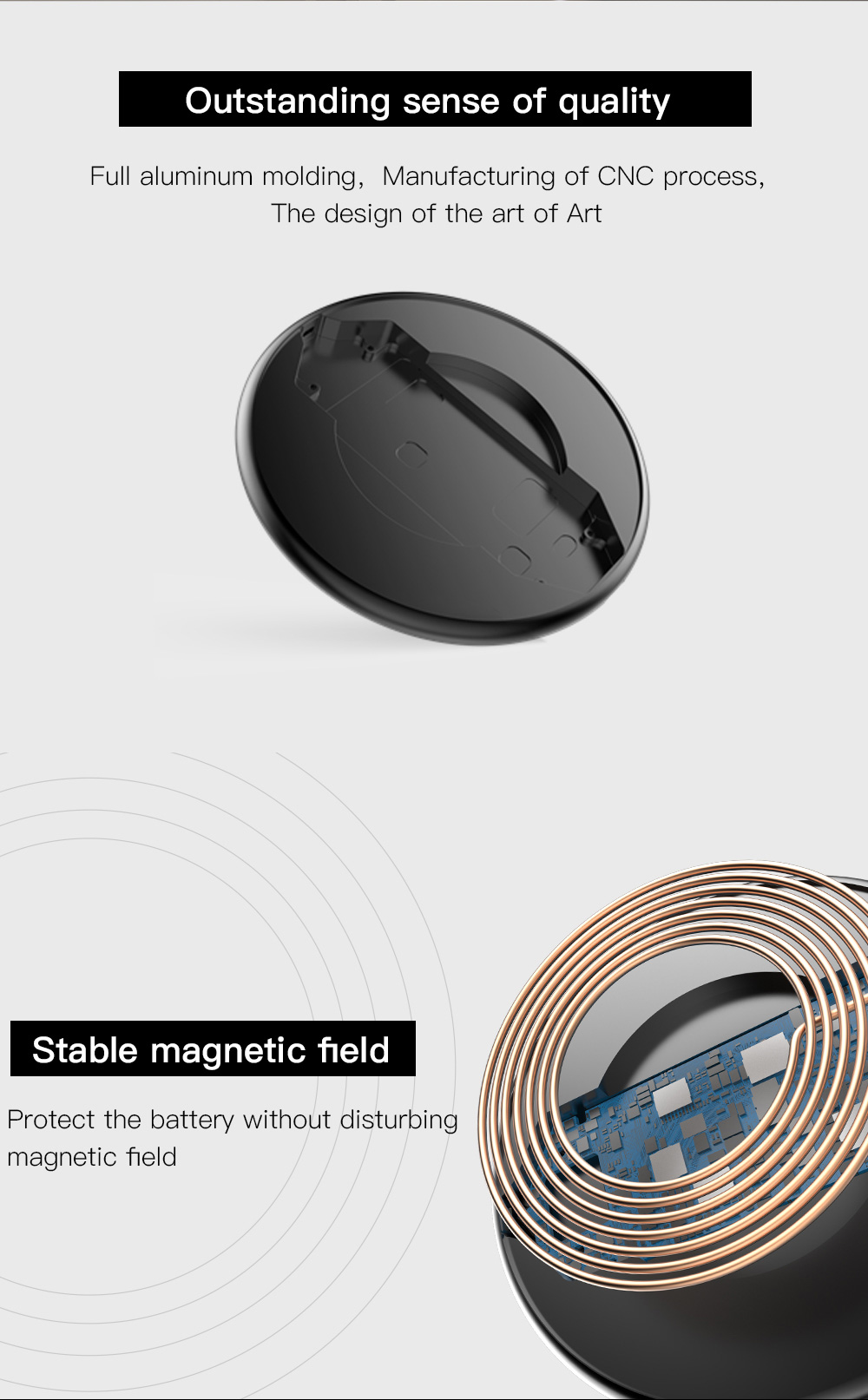 ifive M1 10W Aluminum 2.5D Glass Quick Charge Wireless Charger for iPhone X 8 Plus S8 Note 8 S9