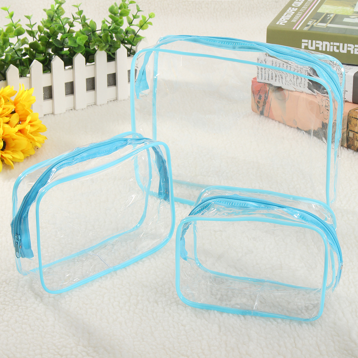 3 Pcs Transparent Cosmetic Bag PVC Travel Organizer Toiletry Makeup Storage Wash Case Waterproof