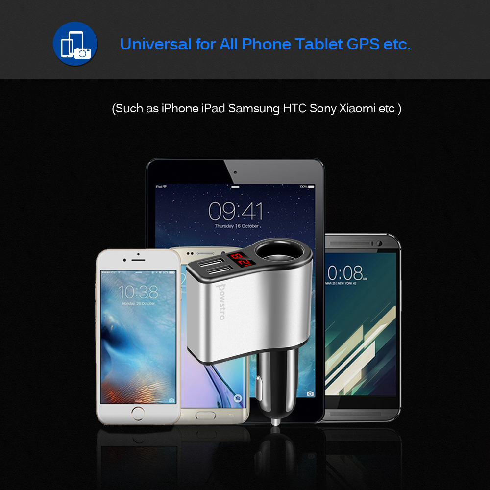 3.1A 2 Ports USB Fast Charging Car Charger With OLED Display Cigarette Lighter For iphone X 8/8Plus