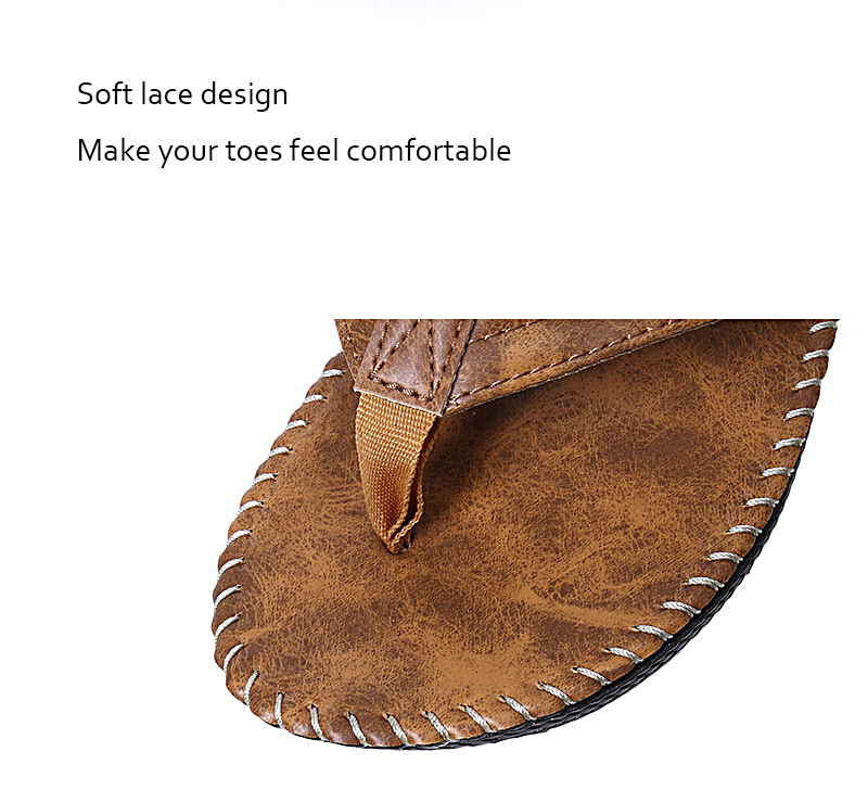 Men Leather Flip Flops Thick Bottom Comfortable Beach Can Be Immersed In Seawater Durable Shoes