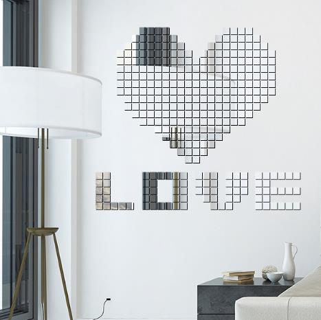 100 PCS Square Crystal Three - Dimensional Mosaic Combination Of Mirror Creative Wall Stickers