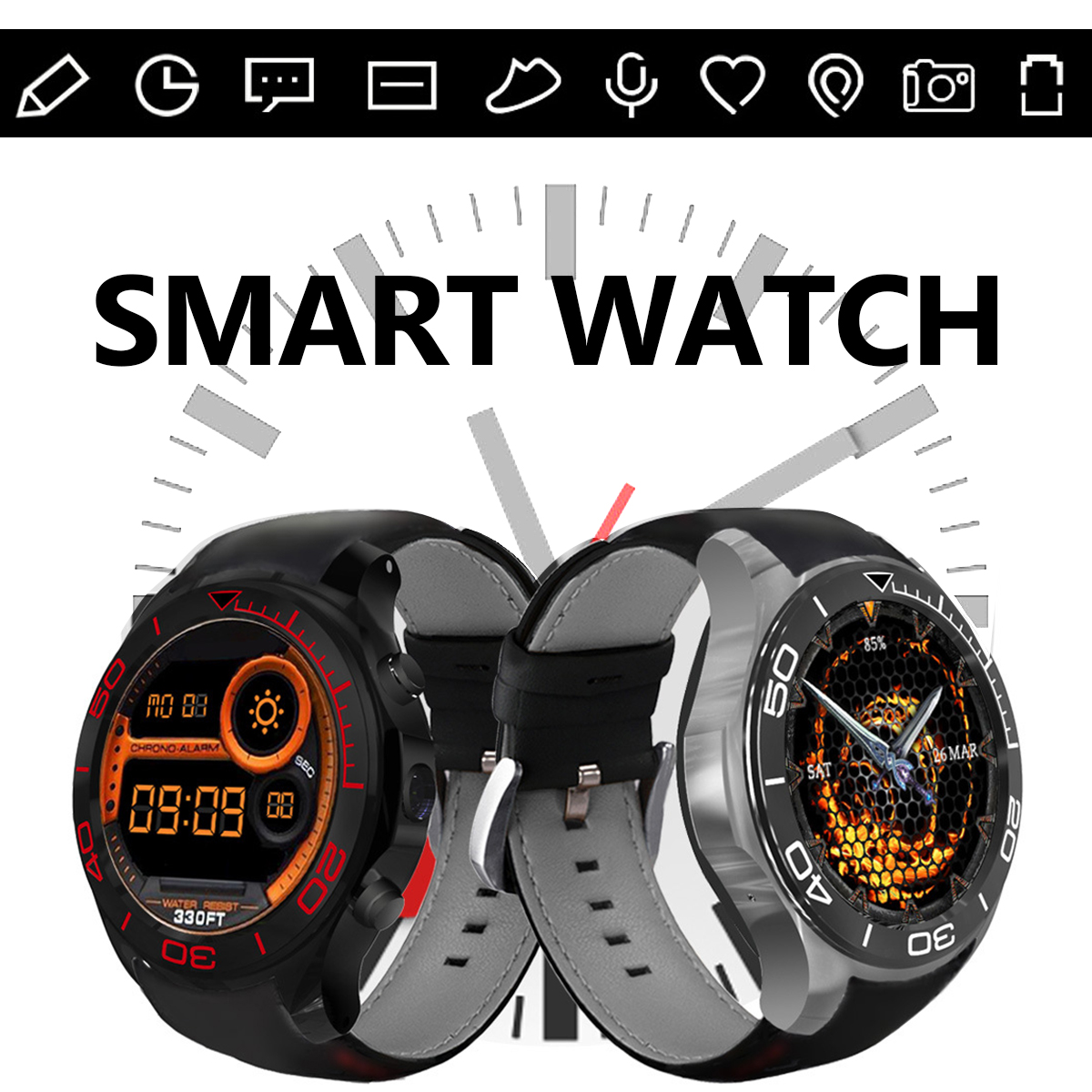 Android 5.1 WIFI bluetooth SIM GPS Camera Heart Rate SOS Pedometer Smart Watch