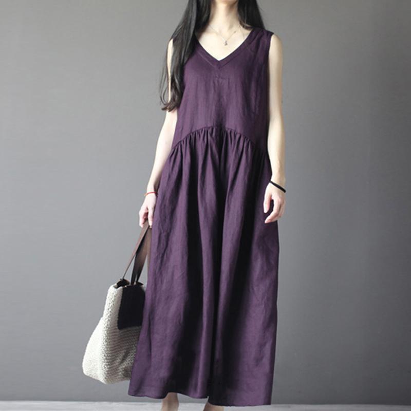 Vintage Women Sleeveless V-neck Linen Cotton Maxi Tank Dress