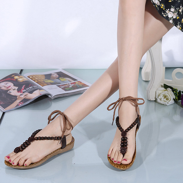 Casual Bead Lace Up Flat Beach Sandals For Women