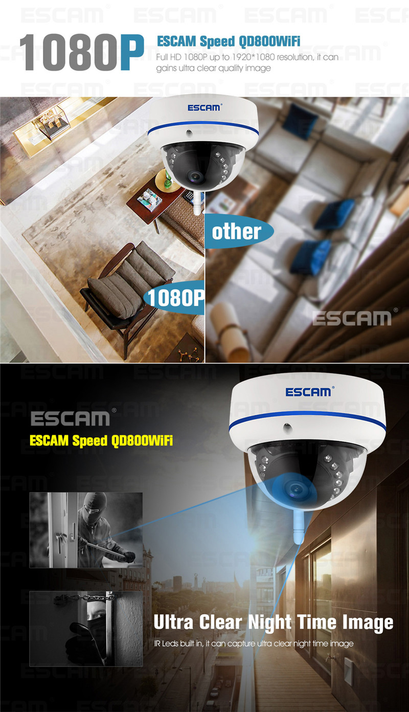 ESCAM Speed QD800WIFI 2MP 1080P WiFi Outdoor Waterproof IP IR Dome Camera IP66 Onvif P2P Night Vision Camera