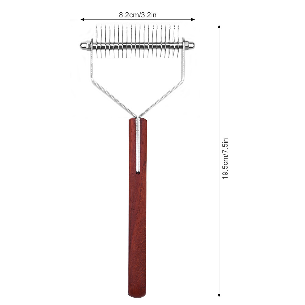 Anti-slip Wooden Handle Pet Grooming Brush Multi-functional Dematting Comb Pet Steel Rake Brush