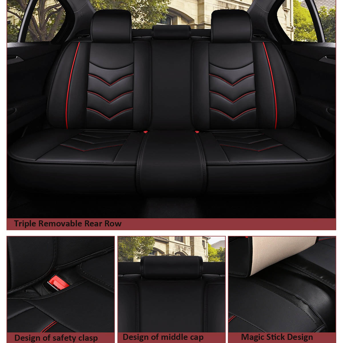 13Pcs PU Leather Car Seat Cover Cushion Full Surround Universal for 5 Seats Car