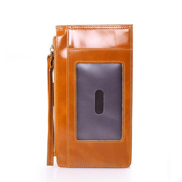 Women Oil Leather High End Card Bag Phone Bag Card Wallet Purse