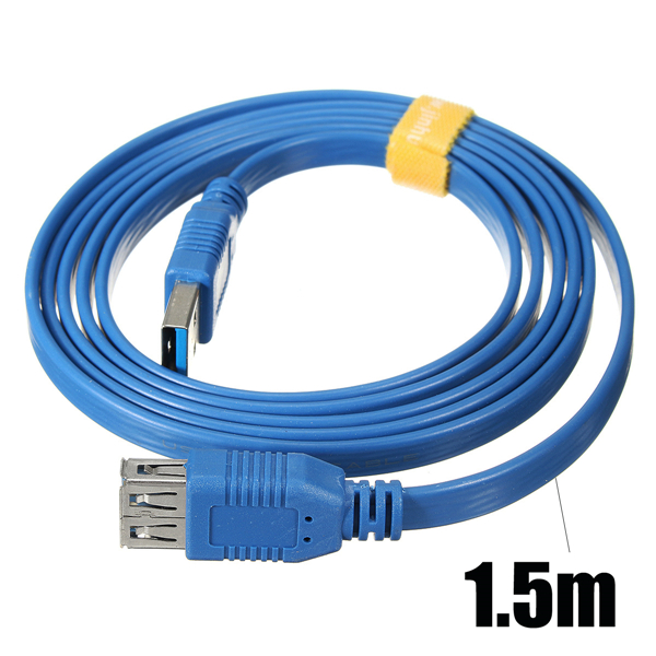 1.5M 5Gbps USB 3.0 Male to Female Extension Flat Cable High Speed For PC Laptop Tablet