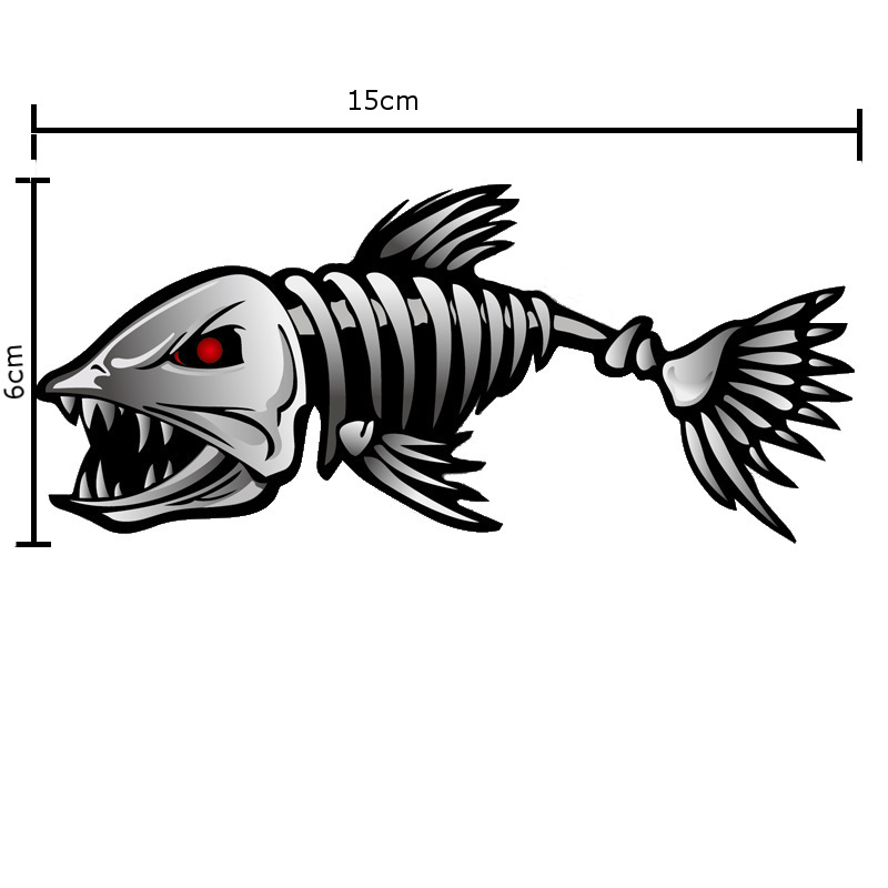 15x6cm Bone Fish Personalized Car Stickers Auto Truck Vehicle Motorcycle Decal