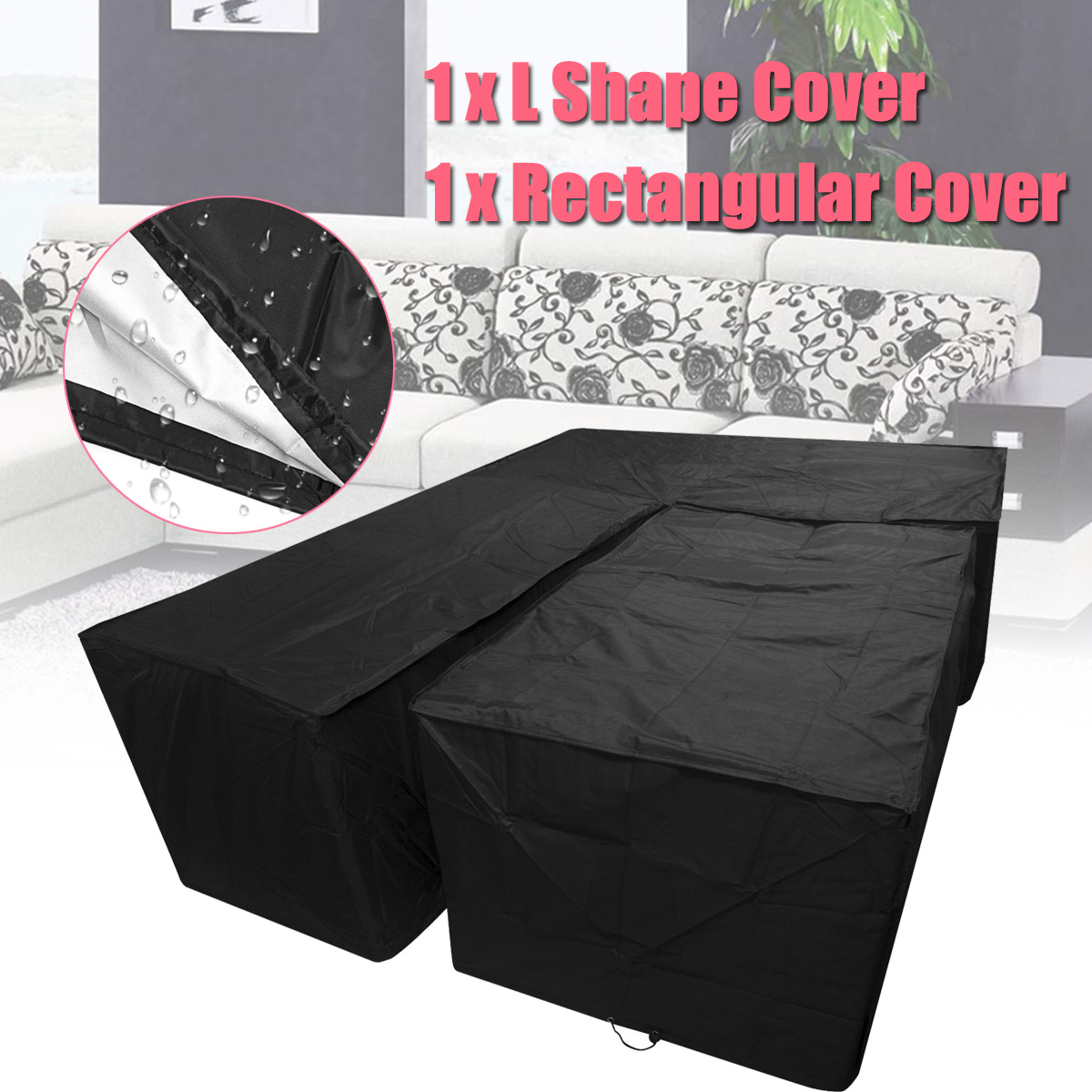 2Pcs/Set Garden Furniture Waterproof Cover Small L-Shaped Dustproof Sofa Couch Cover Set