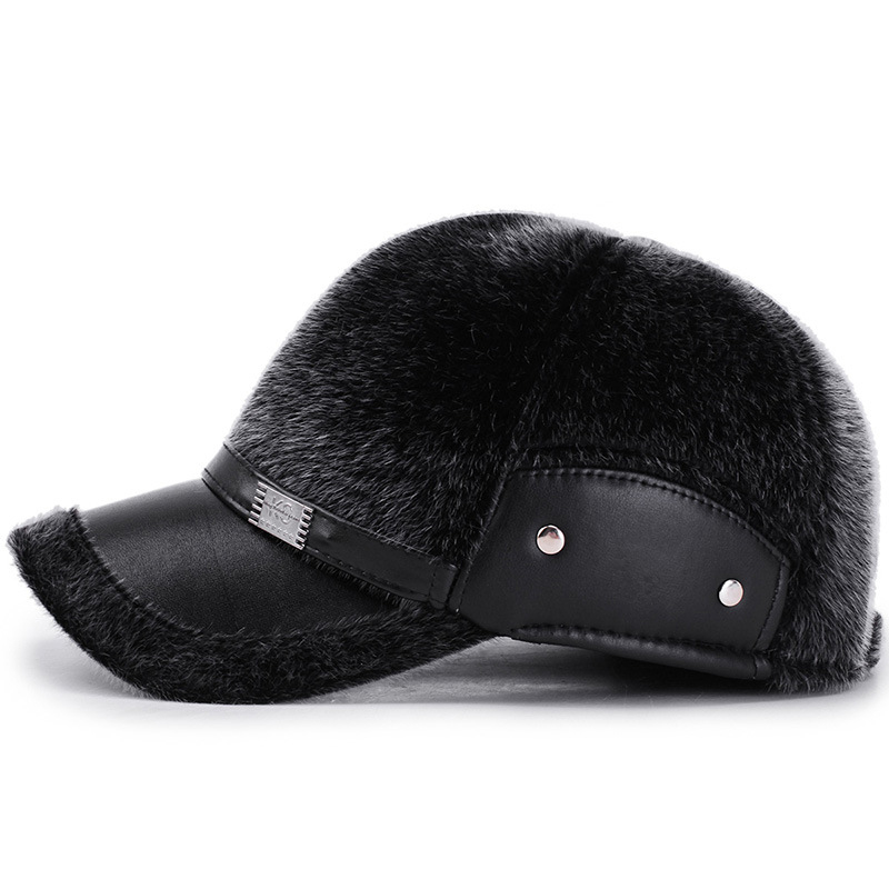 Men Winter Artificial Mane Earmuffs Baseball Cap Peaked Hat