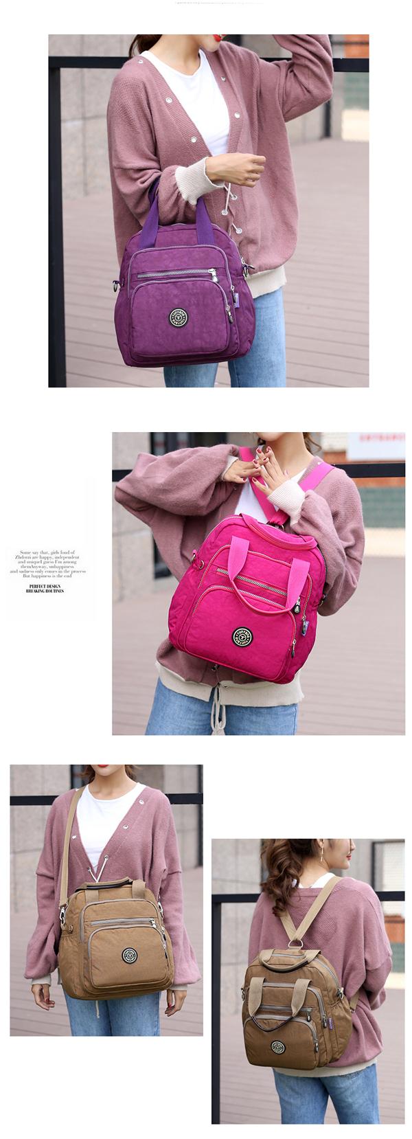 Women Nylon Elegant Multipurpose Backpack Shoulder Bag