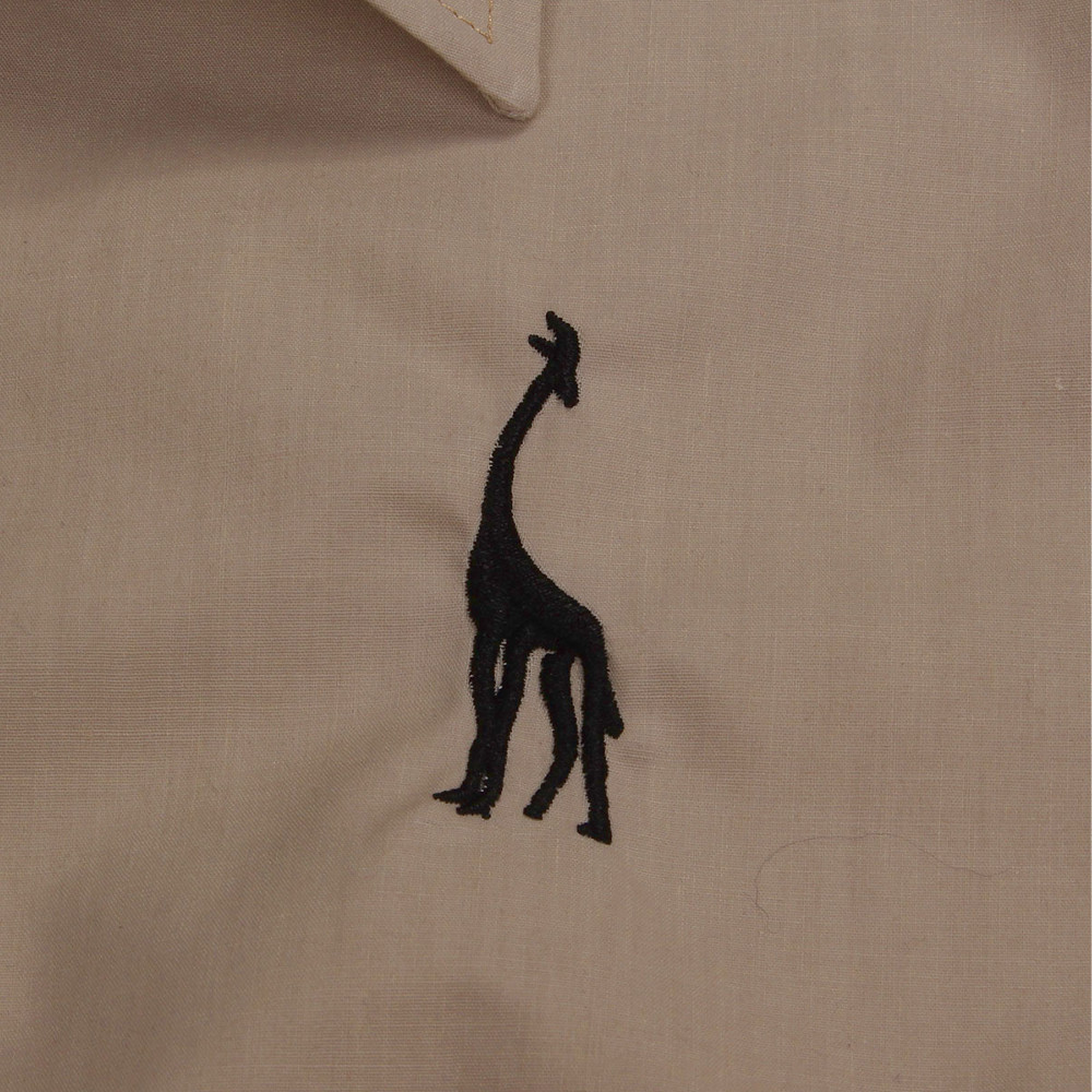 Men Cotton Polyester Deer Embroidery Long-sleeved Plain Shirts