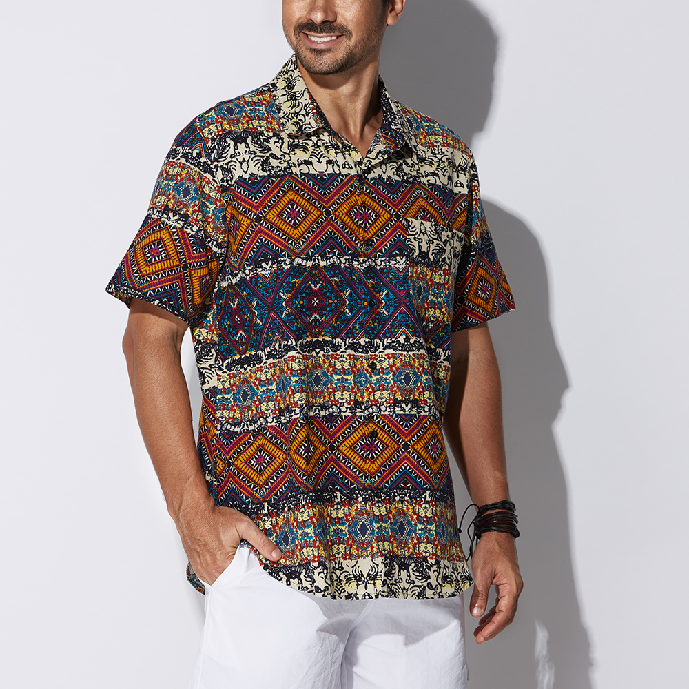 Mens Hawaiian Style Loose Ethnic Floral Printing Beach Shirt