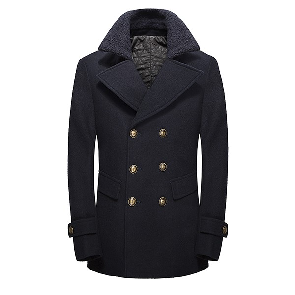 British Fashion Double Breasted Style Wool Blend Jacket Thick Lapel Collar Pea Coats