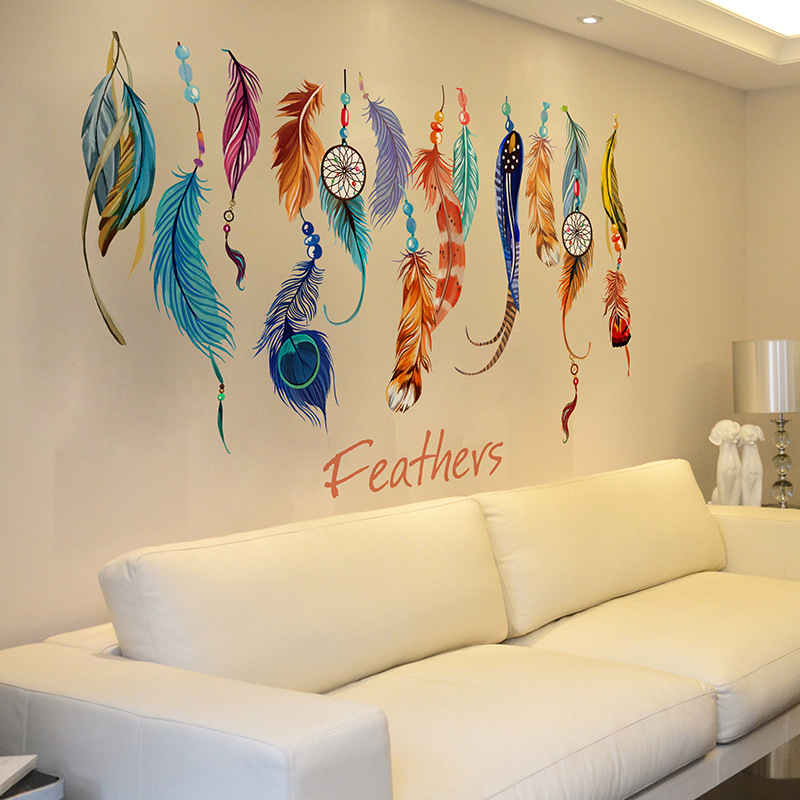 Lucky Colorful Feather Wall Stickers Decor Transparent Film PVC Removable Waterproof Sticker