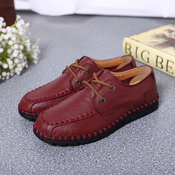 Women Leather Shoes Lace Up Soft Casual Outdoor Flat Loafers