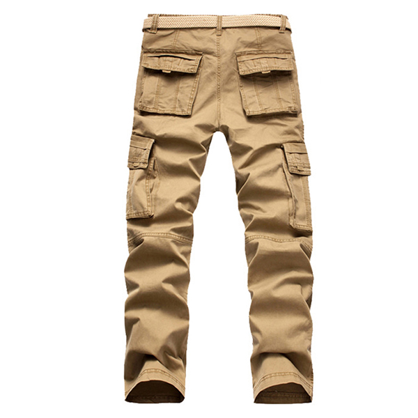 Men's Retro Big Pocket Cargo Pants Casual Straight Leg Cotton Trousers