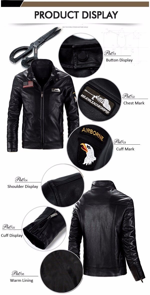 Mens Motorcycle PU Leather Fleece Jacket Stand Collar Zipper Slim Fit Autumn Coats