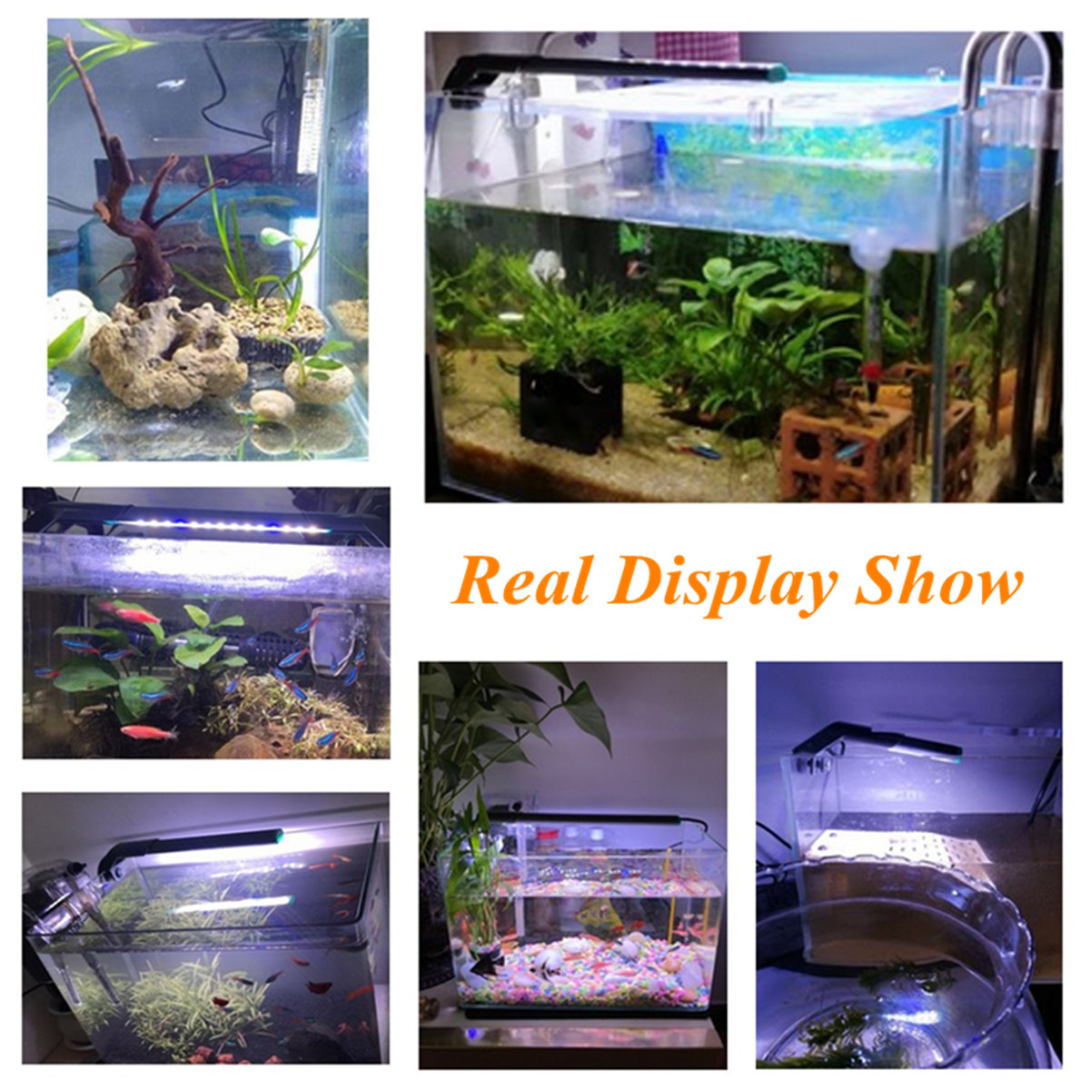 110 - 220V Aluminium Alloy Shell Waterproof Aquarium Fish Tank LED Light Adjustable Water Grass Lamp
