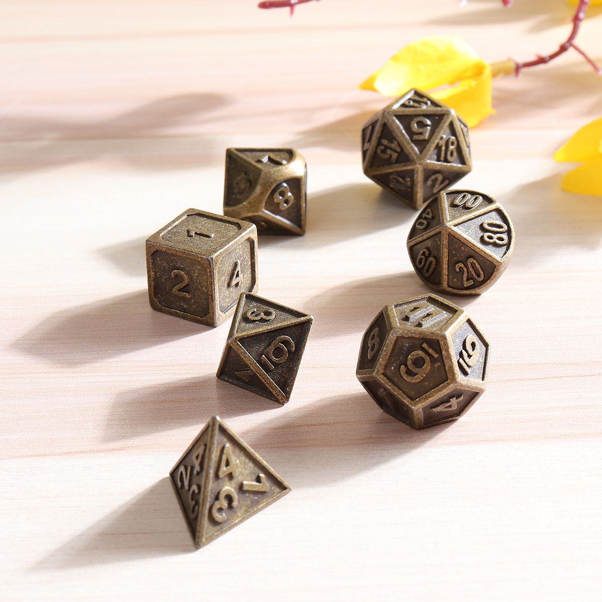 7pcs Embossed Heavy Metal Polyhedral Dices RPG Multisided Dices Set With Bag