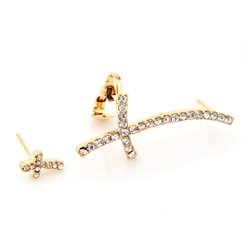 Stylish Ear Clip Long Cuff Earrings Rhinestone Cross Earring