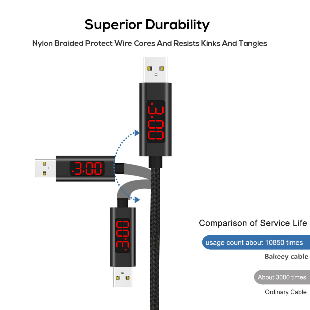 Bakeey 3A Type C Digital Voltage Current LED Display Nylon Data Cable 1M for Samsung S8 Xiaomi 6
