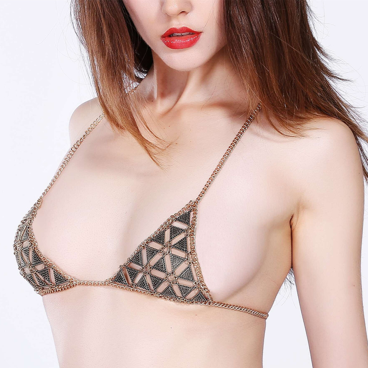 Sexy Hollow Triangle Beach Breathable Free Bra Body Chain