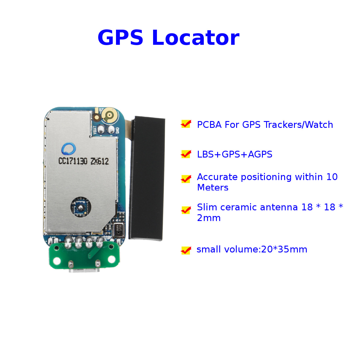 KROAK Mini GPS Tracker Positioner Module GPS+AGPS+LBS Multiple Locator SOS  Alarm Web APP Tracking High Integration PCBA For Kids Children Pets Car