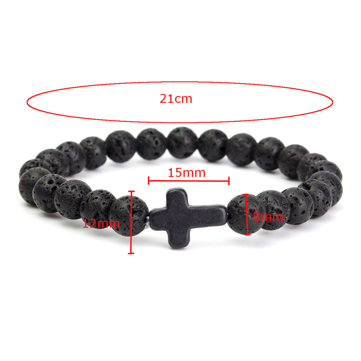 Cross Lava Rock Stone Beads Elastic Men Bracelet