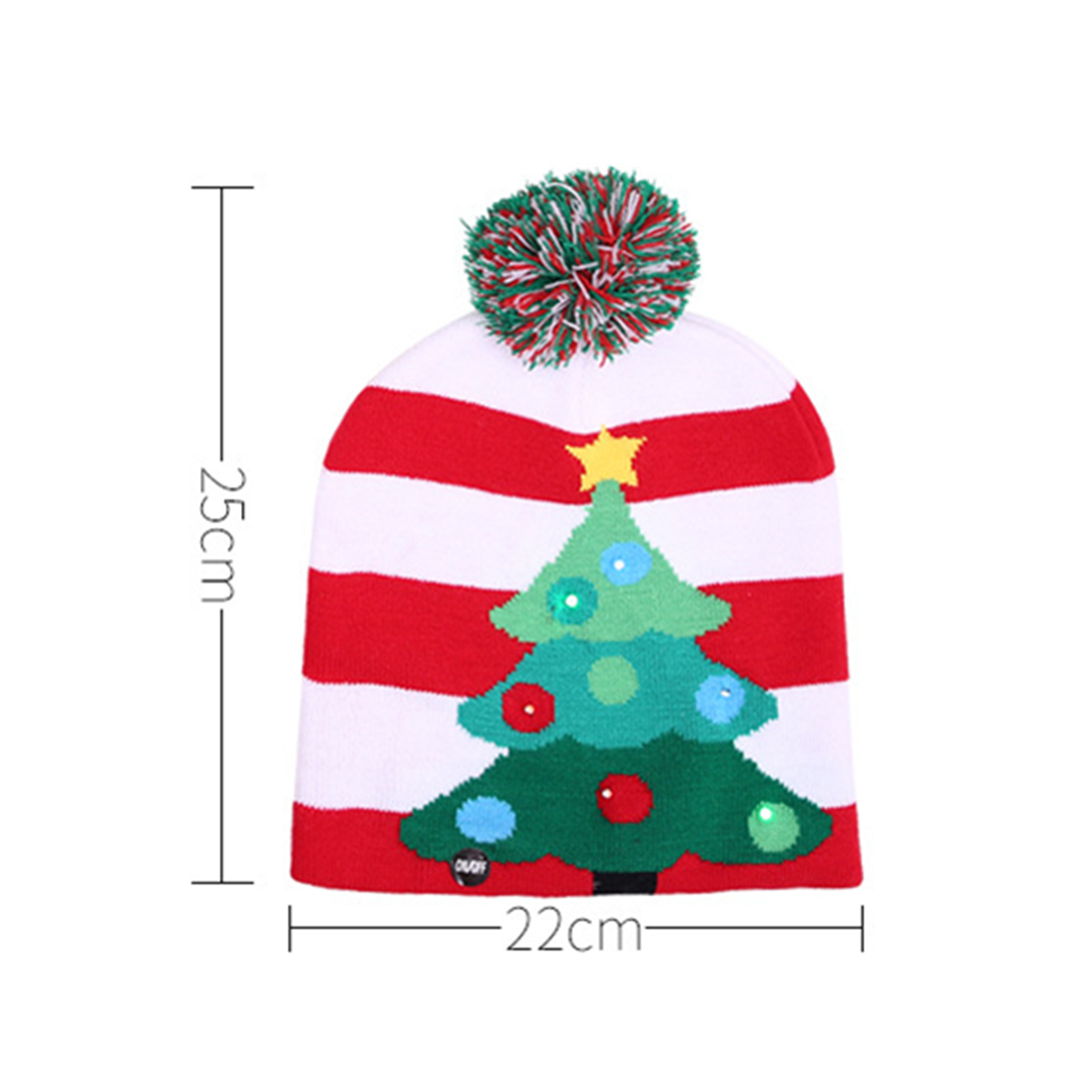 Christmas LED Light Winter Warm Beanie Cap Santa Claus Snowflake Knitted Hat
