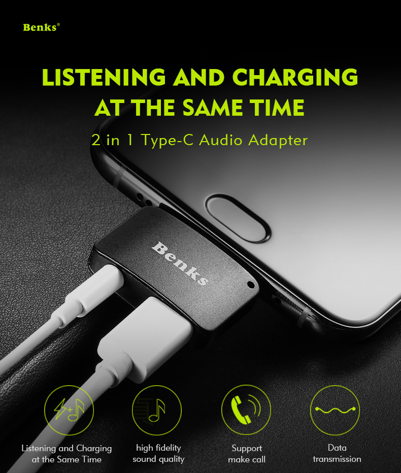 Benks 2 in 1 Type-c Charging 3.5mm Earphone Jack Adapter Converter for Xiaomi Mobile Phone