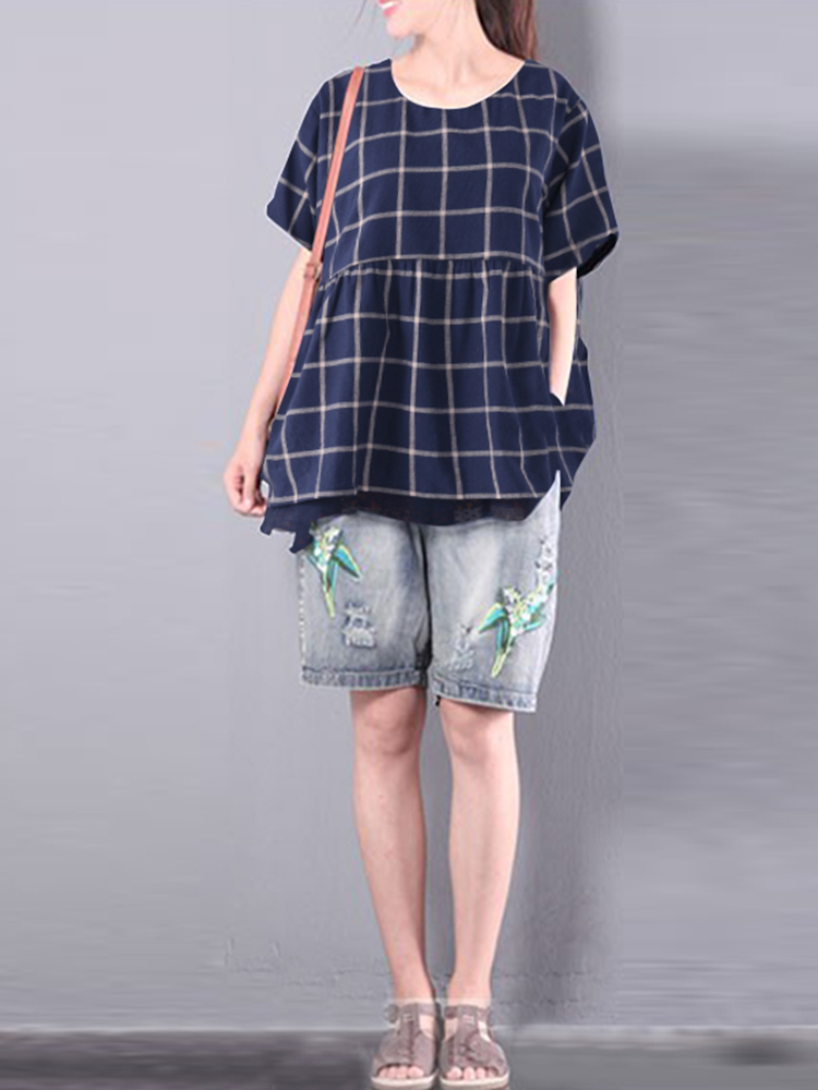 S-5XL Casual Women Plaid Fake Two Pieces Shirts