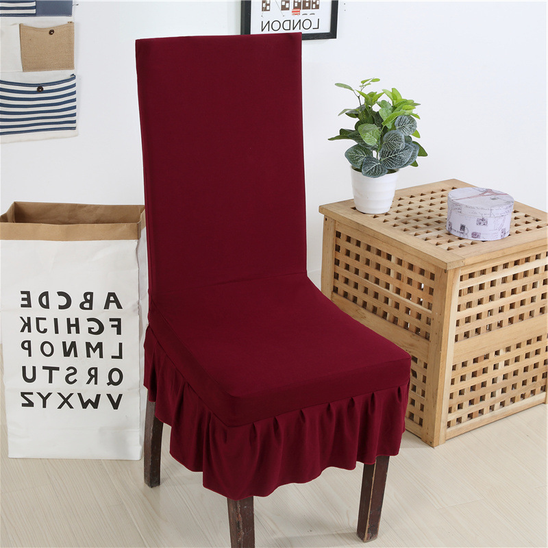 Universal Size Stretch Pleated Chair Covers Skirt Seat Covers for Wedding Banquet Party Hotel Decor