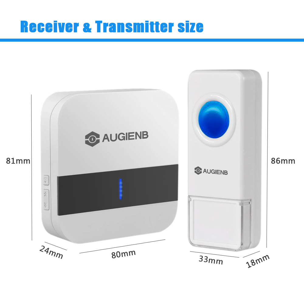 AUGIENB Electronic White 1000ft Long Range Wireless Waterproof LED Light Doorbell with Adjustable 52 Chimes for Home Office