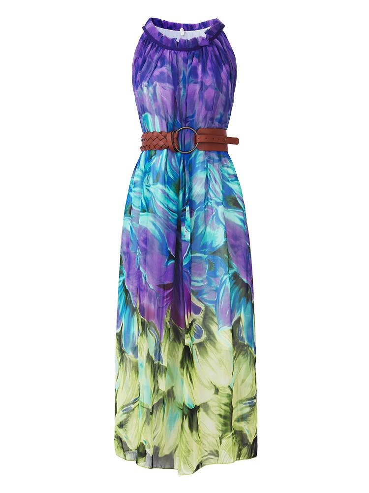 Bohemian Women Sleeveless Halter Printed Summer Beach Chiffon Maxi Dresses