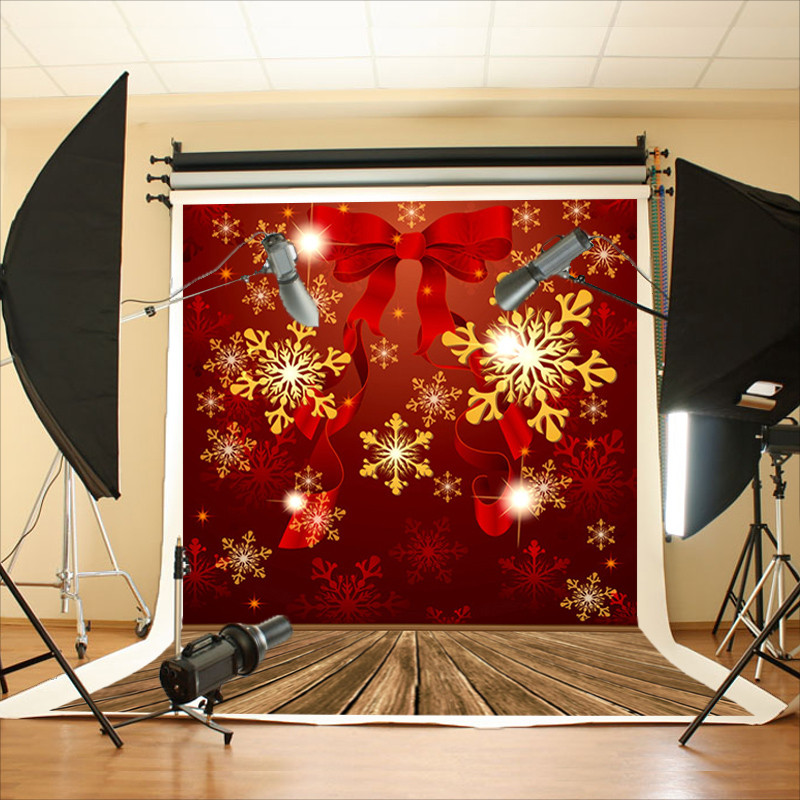 5x7ft Vinyl Studio Backdrop Christmas Red Cheerful Photography Prop Photo Background