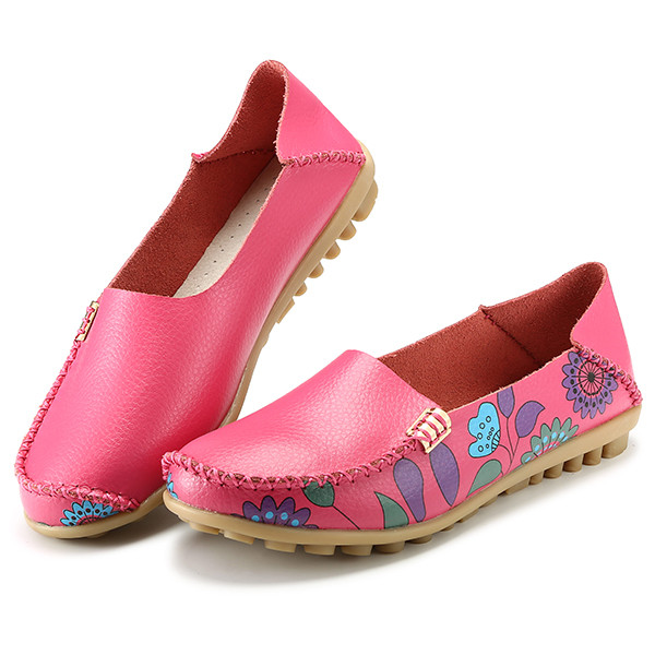 SOCOFY US Size 5-10 Women Flat Flower Casual Outdoor Soft Slip On Leather Loafer Shoes