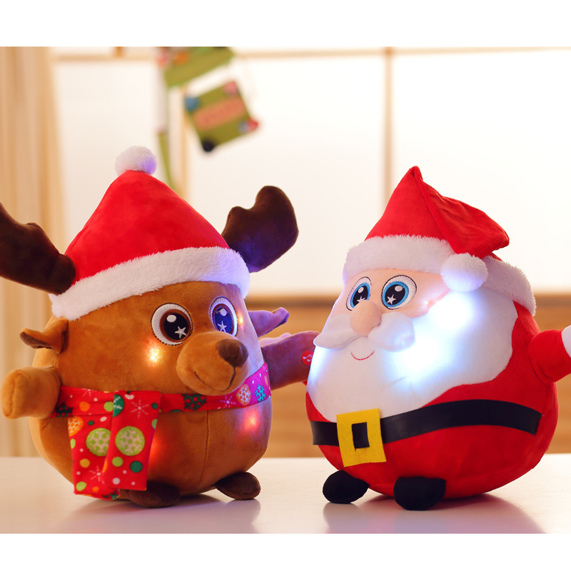 Luminous Music Santa Claus Elk Doll Christmas Gifts Plush Stuffed Cute Toys for Children Christmas Decorations
