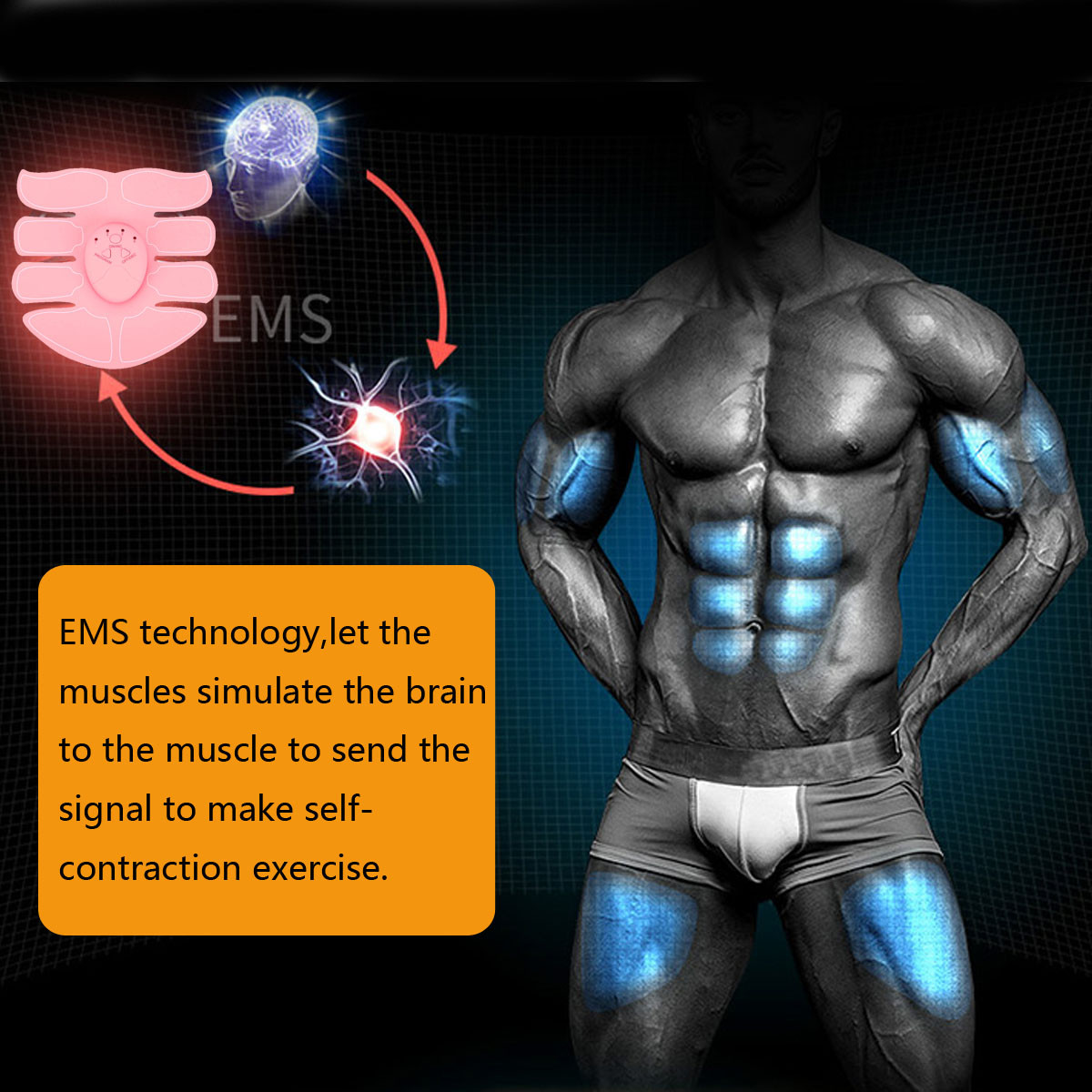 Smart Abs Stimulator Abdomen Arm Muscle Building Equipment EMS Training Body Shape Beauty Trainer