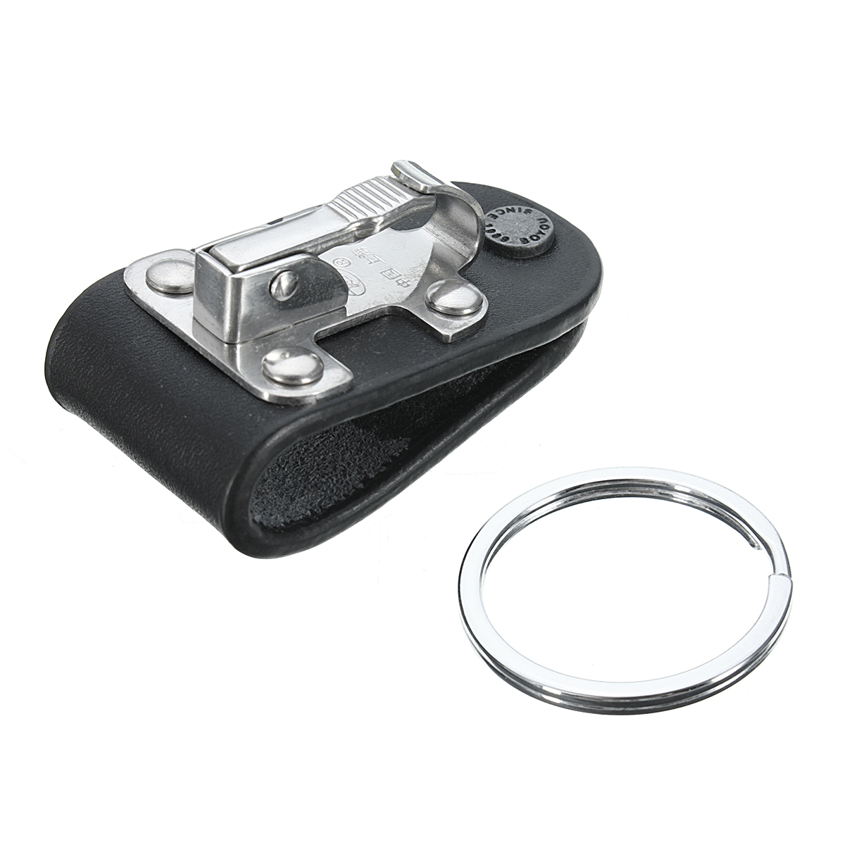 Quick Release Belt Clip Ring Holder Detachable Stainless Steel Black Leather Key Chain Keyring