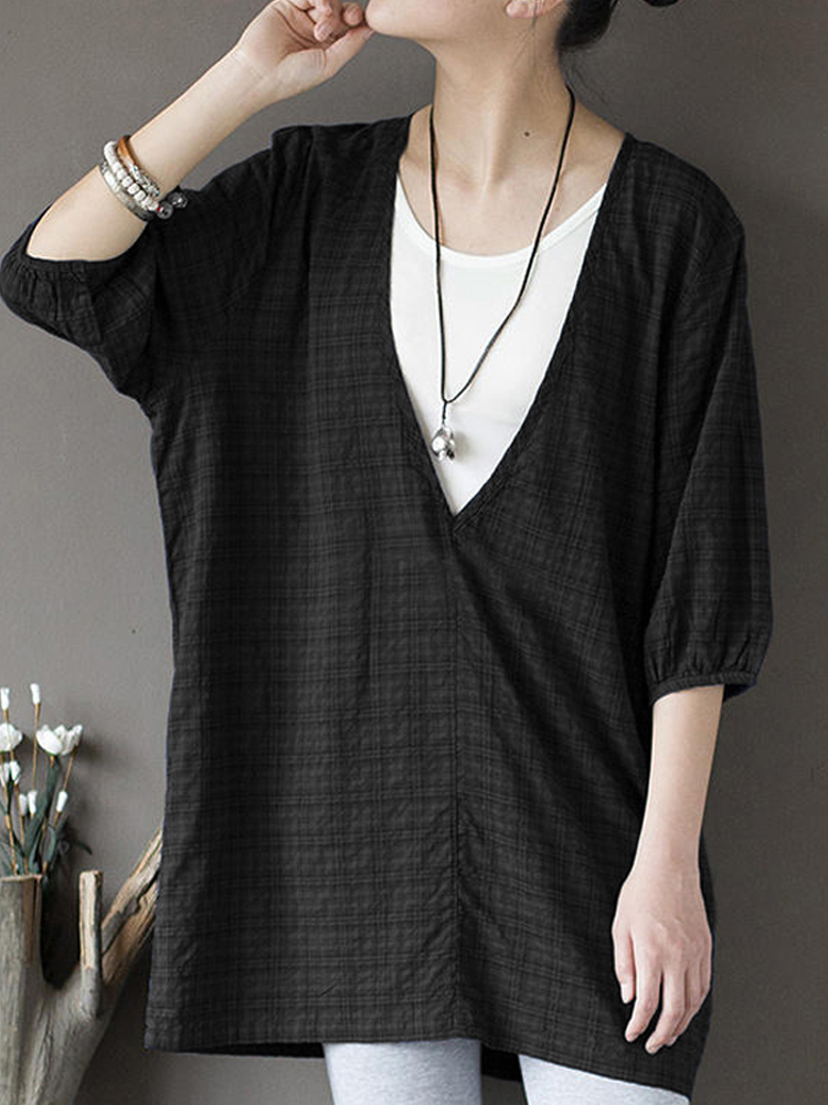 Casual Women V-neck 3/4 Sleeve Baggy Blouse
