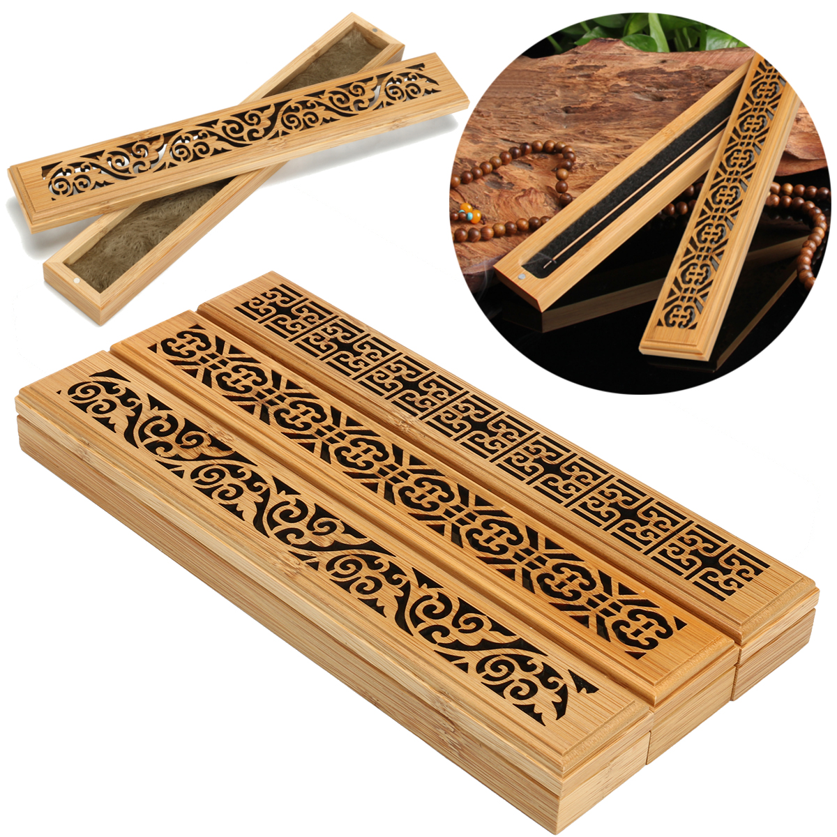 Bamboo Incense Burner Box Drawer Magnet Incense Lore Ho